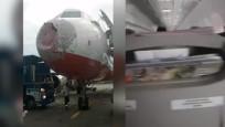 Temmuz ayındaki dolu yağışında yolculuk yapan uçağın korku dolu anları!