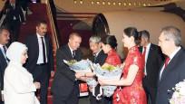 Cumhurbaşkanı Erdoğan'a Çin'de çiçekli karşılama
