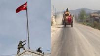 TSK zırhlılarının Afrin'e giriş anlarını görüntüledi