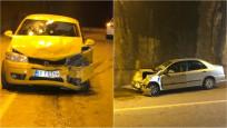 Trafiğe kapalı tünelde iki otomobil çarpıştı: 8 yaralı