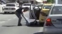 Yolcusunu yere atan taksici tutuklandı