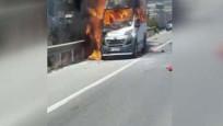 TEM Otoyolu'nda minibüs yangını trafiği felç etti!