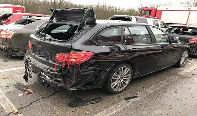 Avusturya'daki  doğalgaz patlamasından ilk görüntüler! Arabalar bile eridi...
