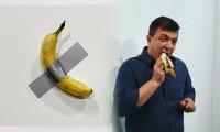 120 bin dolara satılan sanat eserindeki muzu yedi