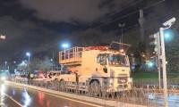 Tramvay hattında iş makinesi kazası