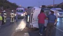 TEM'de işçi servisi devrildi: 5 yaralı