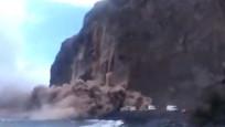 İspanya'daki adada kopan kaya kütlesinin çökme anı kamerada
