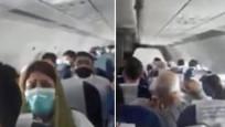 Uçakta panik anları! çığlık atanlar, ağlayanlar...