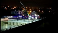 Metro inşaatında işçileri taşıyan sepetin halatı koptu