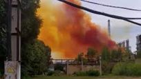 Ukrayna'da patlama: Gökyüzünü turuncu duman kapladı
