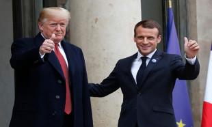 Macron ile Trump arasında ilginç tokalaşma anı