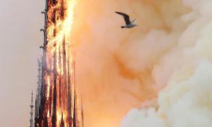 Notre Dame yangınında kulenin yıkılma anı
