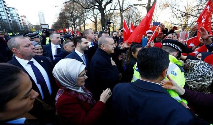 Cumhurbaşkanı Erdoğan'a Londra'da sevgi gösterisi