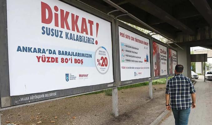 Ankara'da reklam panolarında 'Susuz kalabiliriz' uyarısı